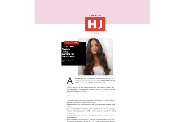 Remi Cachet press coverage in Hairdressers Journal for Charlotte Crosby hair makeover