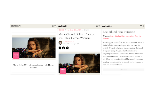 Marie Claire Awards Hair Hero Remi Cachet for Best Ethical Iniaitive
